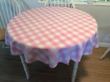 VINTAGE PINK & WHITE PLAID ROUND TABLECLOTH