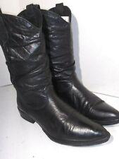Zodiac Vintage Black Leather Western Cowboy boots pull mens Size 10 M