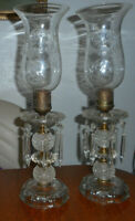 Vintage Pair Glass  Boudoir Table Lamps with Etched Glass Hurricane Shades