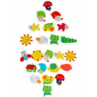 New 12Pcs 1Set Kids Wooden Cartoon Animal Fridge Magnet Child Educational U M1T0