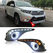 Fog Light DRL+COB Angel Eye Bumper Cover Len Kit For Toyota Highlander 2012-2014