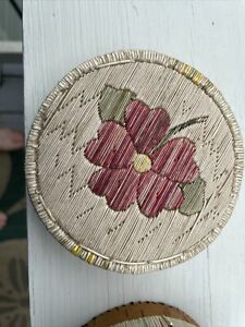 ROUND BIRCH BARK LIDDED BASKET WITH PORCUPINE QUILL  BEAUTIFUL RED FLOWER