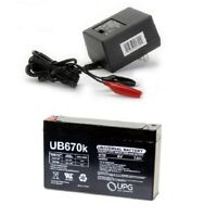 NEW UPG UB670 6V 7AH Replacement for MK ES7-6 Wheelchair Battery & CHARGER