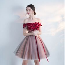 Women Lace Off Shoulder Party Evening Cocktail Short Tutu Prom Red Elegant Dress