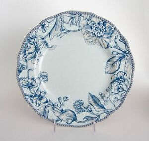1 DINNER Plate by 222 Fifth OAKLEY TEAL LIGHT and Dark BLUE Floral NEW