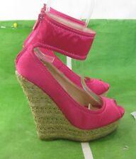 "LADIES Pink 6""Wedge HIGH Heel 1.5""Platforms Ankle Strap  Sandals Shoes Size 7.5"