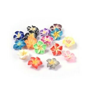 Mixed-Colour Polymer Clay Beads Flower 8 x 12mm Pack Of 10