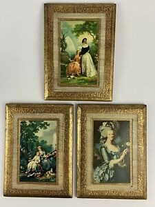 3 Vintage Italian Wall Pictures Plaques Florentine Art Gold Gilt Wood Italy