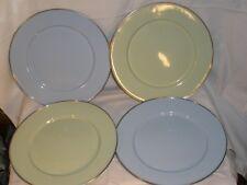 "4 Metal Enamel Dinner Plates 10 7/8"" Pale Green Blue"
