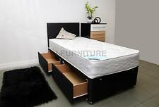 2ft6 3ft Single Divan Bed with Storage and Mattress. 2 Base Colours. +Headboard