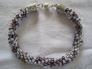 "Beaded  KUMIHIMO BRACELET Handmade PINK/RED MIX Size:8"" Magnetic Clasp (C2)"