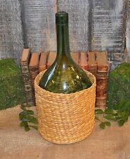 Antique French Demijohn Green Balloon Shaped Bottle in Basket