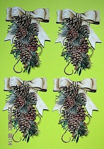 New: 8 x Tattered Lace : Christmas Pine Cone Bow Charisma Die Cuts