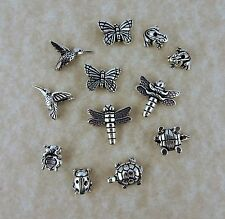12 Silver TierraCast beads butterfly, hummingbird, dragonfly, frog, turtle bugs
