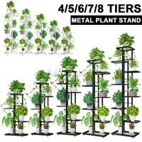 Multi-tier Plant Stand Outdoor Indoor Garden Flower Pot Metal Rack Display Shelf