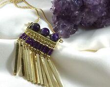 Haute Couture Natural Amethyst Gemstone Pendant Fringe Gold Tassel Necklace