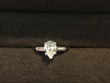 Estate Pear and Baguette Diamond Engagement Ring 14 K White Gold