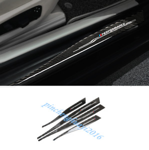 Real Carbon Fiber Outside Door Sill Guards Plate Trim For BMW 5 Series E60 05-10