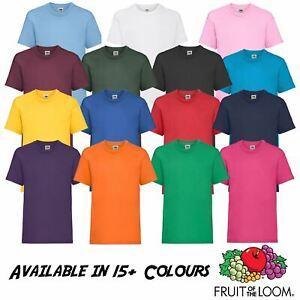 Kids Boys Girls Fruit Of The Loom Children Summer T-Shirt Plain Basic Casual Tee