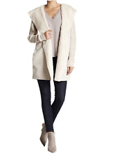 Coton Emporium Woman's Extra Large Ivory Faux Fur Hooded Knit Coat NWT