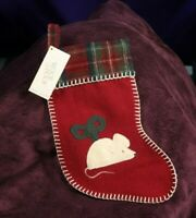 Woof & Poof 1999 Wind Up Mouse Toy Christmas Stocking Red