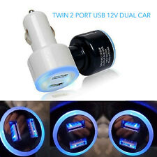 UNIVERSAL TWIN 2 PORT USB 12V DUAL CAR CHARGER CIGARETTE SOCKET LIGHTER BLACK