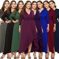 Plus Size Women Wrap V-neck Long Shirt Dress Summer Holiday Evening Maxi Dress