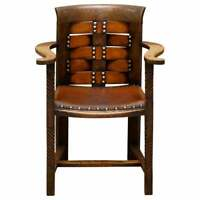 ORIGINAL GEORGE HENRY WALTON ARTS & CRAFTS OAK & LEATHER ARMCHAIR GLASGOW SCHOOL