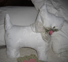 Scottie Scotty Dog Pillow White Lace Shabby style Bed, Bench furniture Display