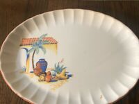 Vintage W.S. George Bolero Platter Mexican Hacienda Theme Red Ruffled Edge 9x12