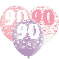 """6 Pink Sparkle Happy 90th Birthday 12"""" Pearlized Printed Latex Balloons"""