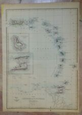 CARIBBEAN 1863 by EDWARD WELLER LARGE DETAILED ANTIQUE ENGRAVED MAP 19e CENTURY