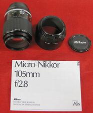 Nikon Micro-Nikkor HS-14 105mm F/2.8 Lens W/Hood & Manual