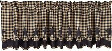 Handkerchief Style Country Window Valance Navy Star Patch Blue & Dark Tan Check