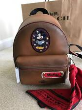 New Disney X Coach Mini Charlie Backpack Patches Leather Saddle Mickey F59356