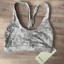Lululemon Flow Freely Bra Washed Marble Alpine White Silver WSMS Size 4 - 25342