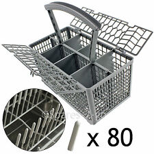 Universal Dishwasher Cutlery Basket Cage + 80 Prong Cover Rack Protector Caps