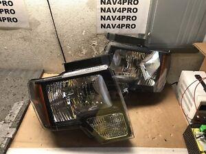 2009-2014 Ford F-150 F150 Black OE Style Halogen Headlight Pair #H310