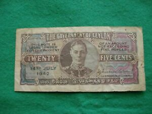 1942 Government of Ceylon 25 Twenty Five Cents Banknote nice collectable grade