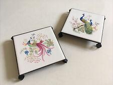More details for vintage ceramic tile trivets / pot stands beautiful bird motifs x2 peter carvel