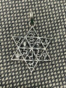 Mexican Sterling Silver Star of David Pendant w/ Animals