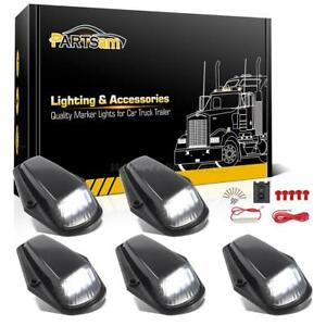 5Pcs Smoke Cab Roof Marker Lights w// T10 5050 White LED For Ford F-150//250//350