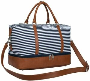 S-ZONE Women Weekend Bag Canvas Overnight Travel Tote PU Leather Strap Travel