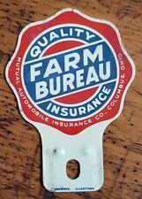 Vtg Farm Bureau Insurance Advertising License Plate Topper