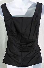 Ann Taylor women 0 black sleeveless blouse back zipper