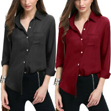 Womens V Neck shirt Blouse Casual Long Sleeve Ladys Tops Button Shirt Plus Size