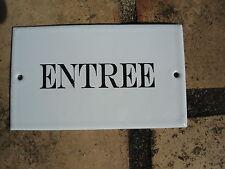 """PLAQUE DE PORTE EMAILLEE """" entrée"""" EMAIL VERITABLE NEUVE FABRIQUEE EN FRANCE"""
