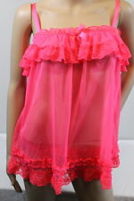NWT VICTORIA'S SECRET Hot Pink Sheer Mesh Lace Babydoll Negligee Set Size Small