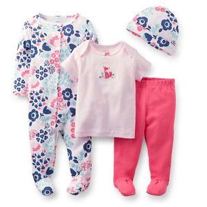 Carter's 4-pc Set w/ Sleep & Play, Shirt, Footed Pants & Cap (GBC-B01), 6 mos
