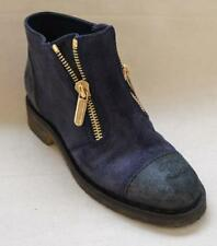 Chanel Navy Suede Ankle Boots with Zippers Size 37 – US size 7